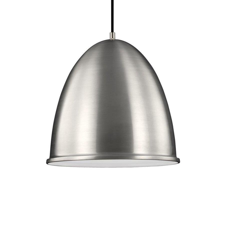 Sea Gull Lighting Hudson Street 15.75-in Satin Aluminum Industrial Dome LED Pendant