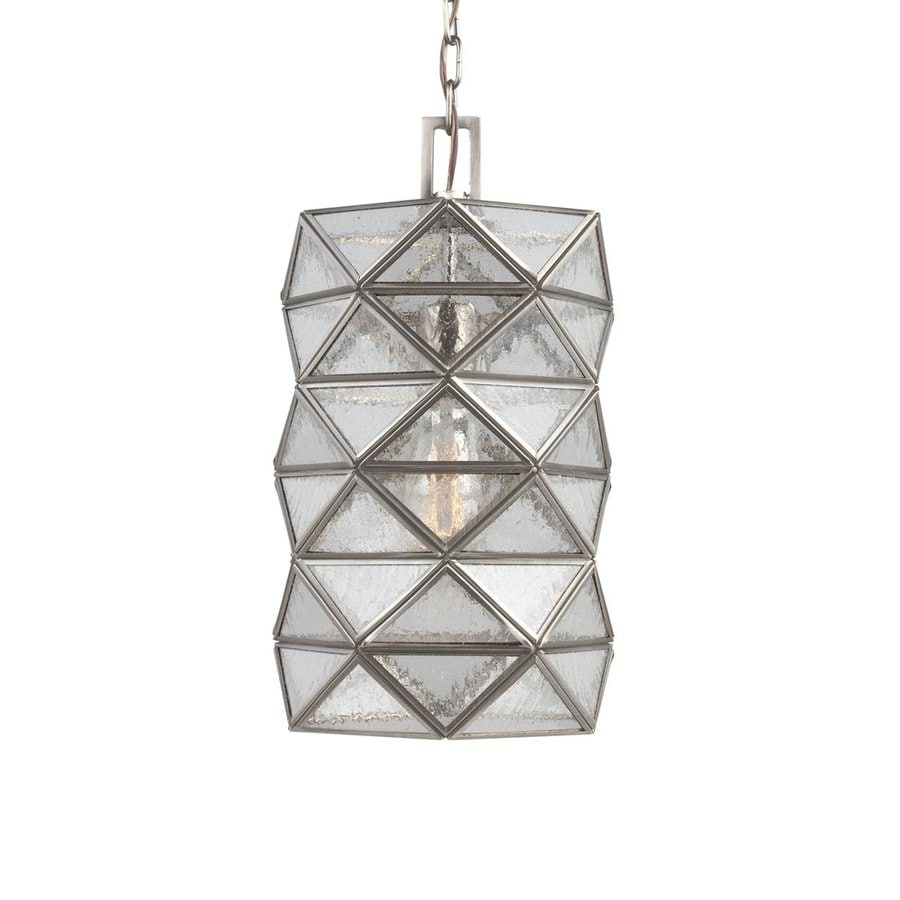 Sea Gull Lighting Harambee 8-in Antique Brushed Nickel Vintage Mini Seeded Glass Geometric Pendant