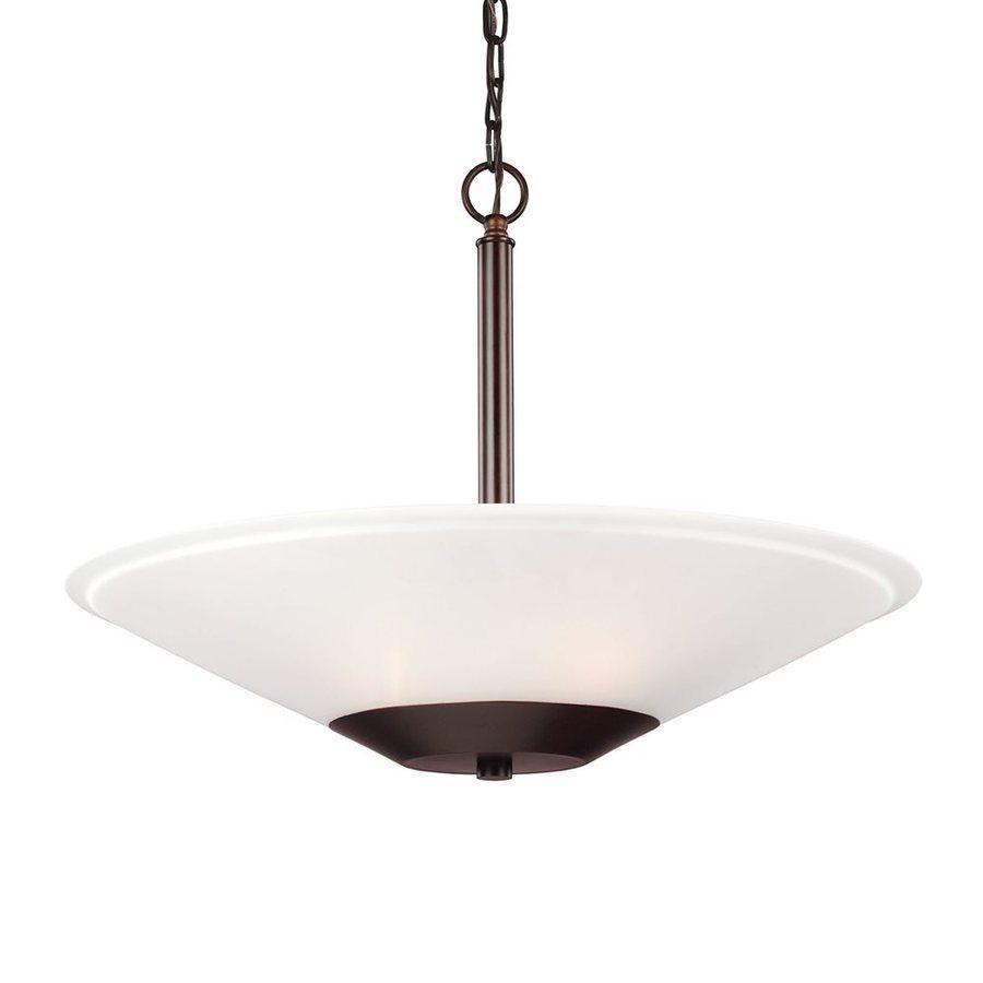 Sea Gull Lighting Ashburne 23.25-in Burnt Sienna Single Etched Glass Bowl Pendant