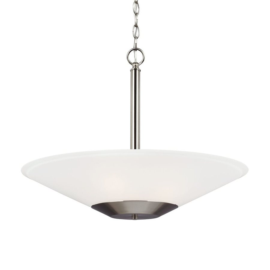 Sea Gull Lighting Ashburne 23.25-in Brushed Nickel Single Etched Glass Bowl Pendant