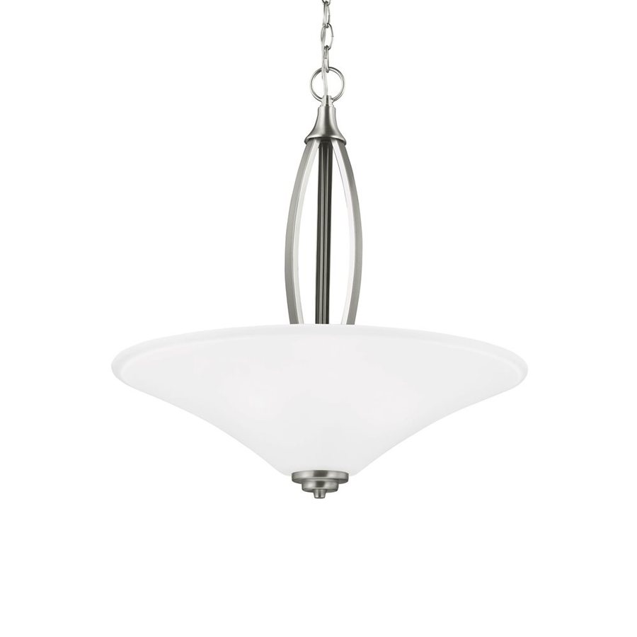 Sea Gull Lighting Metcalf 22-in Brushed Nickel Single Etched Glass Bowl Pendant