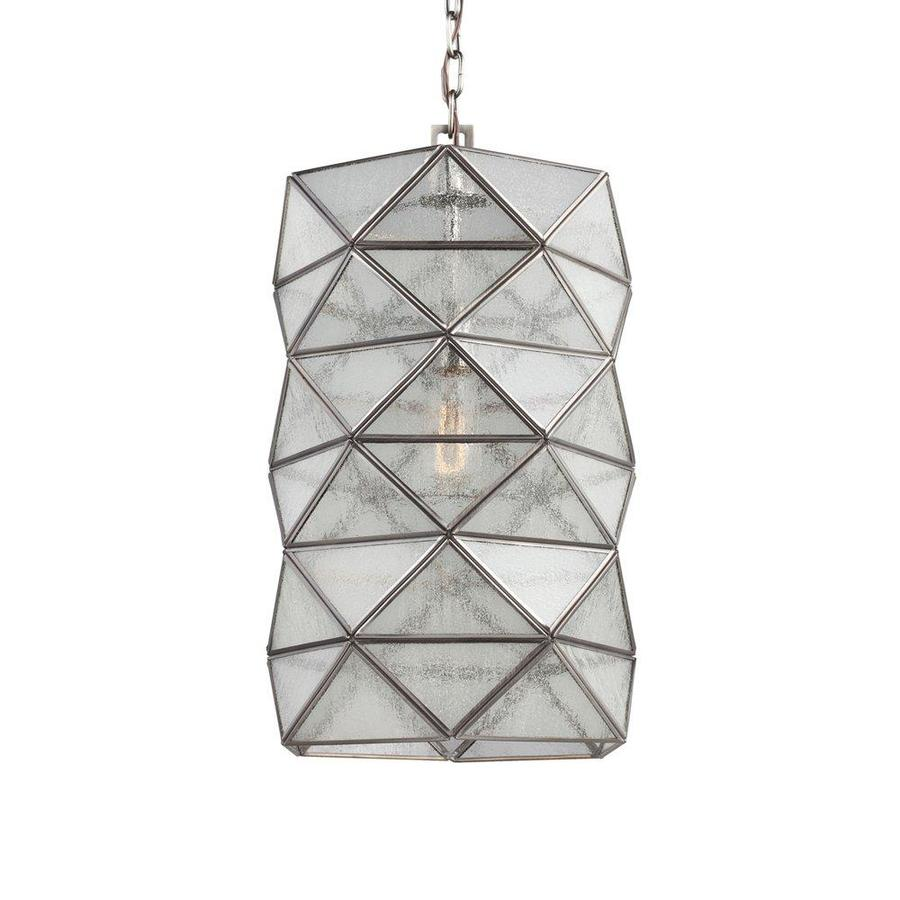 Sea Gull Lighting Harambee 12-in Antique Brushed Nickel Vintage Single Seeded Glass Geometric Pendant