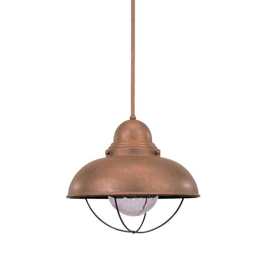 Sea Gull Lighting Sebring 16.75-in Weathered Copper Barn Seeded Glass Warehouse LED Pendant