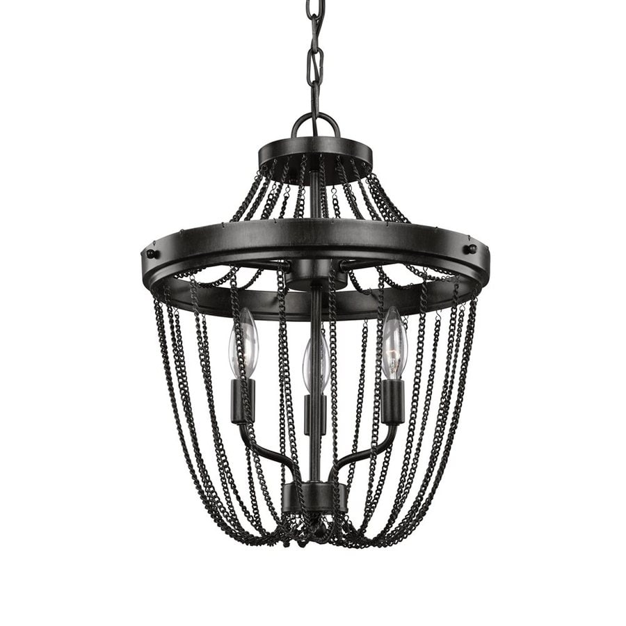 Sea Gull Lighting Kelvyn Park 15-in 3-Light Stardust Vintage Cage Chandelier