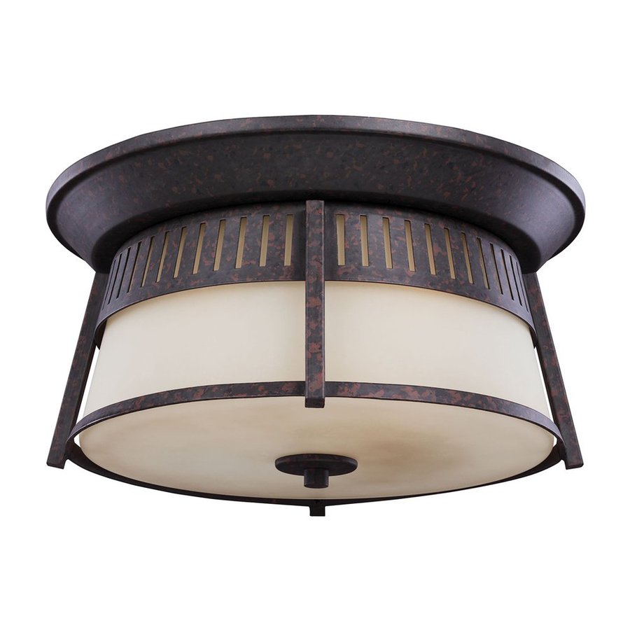 Sea Gull Lighting Hamilton Heights 14-in W Oxford Bronze Outdoor Flush-Mount Light