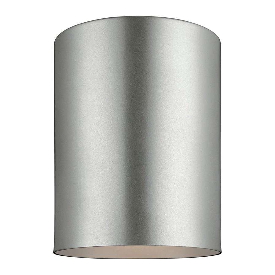 Sea Gull Lighting Outdoor Bullets 5.125-in W Painted Brushed Nickel Outdoor Flush-Mount Light