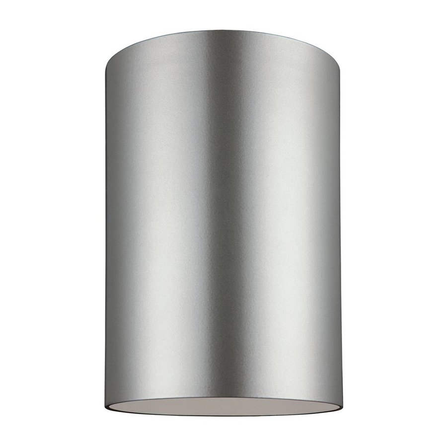 Sea Gull Lighting Outdoor Bullets 6-in W Painted Brushed Nickel Outdoor Flush-Mount Light