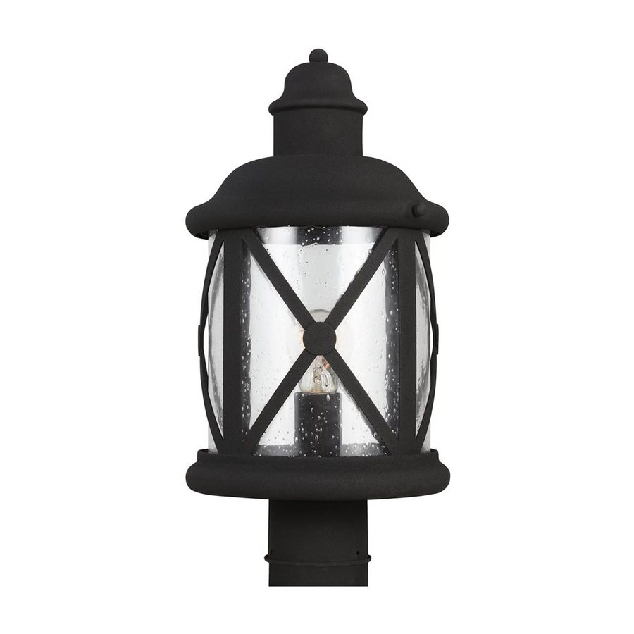 Sea Gull Lighting Lakeview 16.375-in H Black Post Light