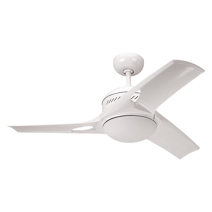 Monte Carlo Fan Company 38-in White Indoor Downrod Mount Ceiling Fan with Light Kit and Remote (3-Blade)