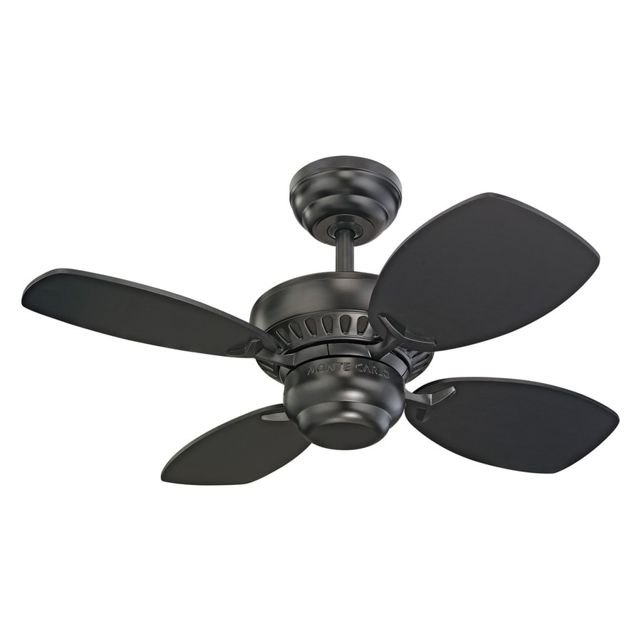 Monte Carlo Fan Company Colony Ii 28-in Matte Black Downrod or Close Mount Indoor Ceiling Fan Adaptable (4-Blade)