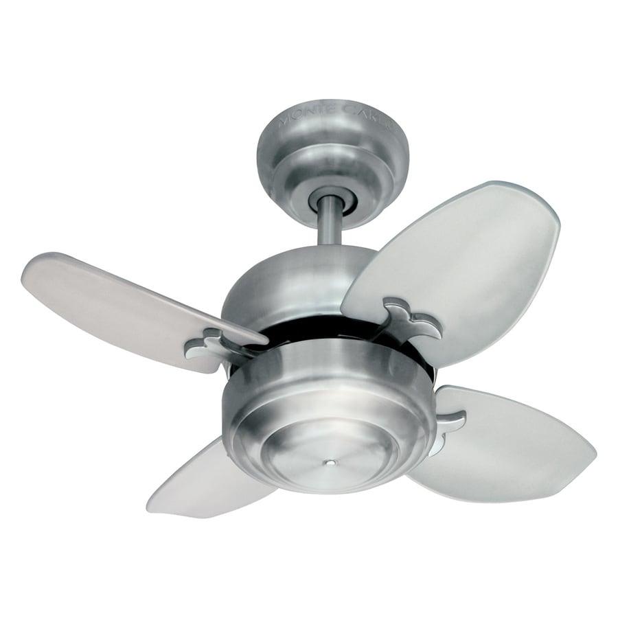 Monte Carlo Fan Company 20-in Brushed Steel Downrod Mount Indoor Ceiling Fan (4-Blade)
