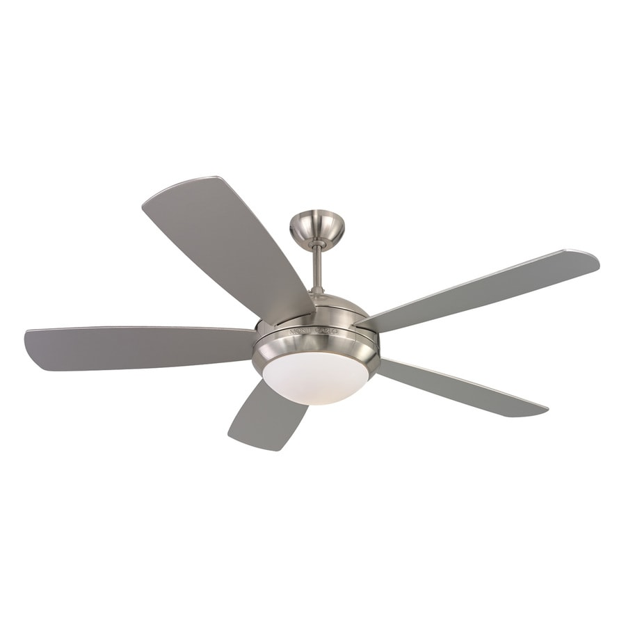 Monte Carlo Fan Company Discus 52-in Brushed steel Indoor Downrod Or Close Mount Ceiling Fan with Light Kit
