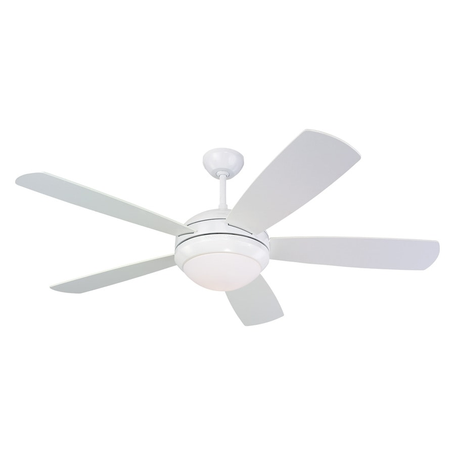 Monte Carlo Fan Company Discus 52-in White Indoor Downrod Or Close Mount Ceiling Fan with Light Kit