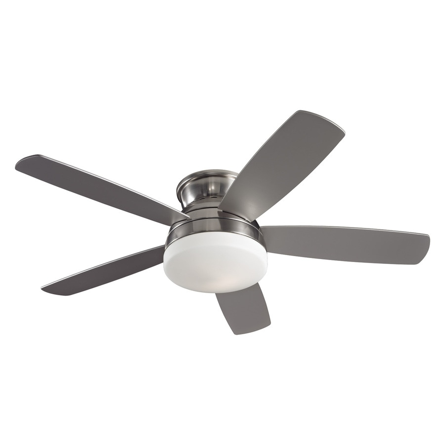 Monte Carlo Fan Company 52-in Brushed steel Indoor Flush Mount Ceiling Fan with Light Kit