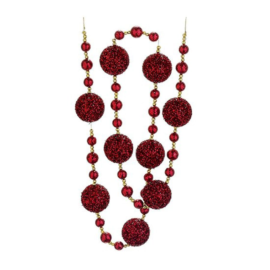 Northlight Christmas Brites 6-ft L Red Glitter Ball Garland