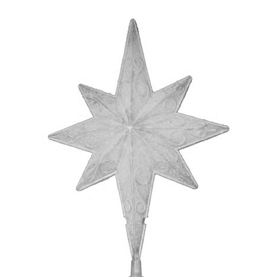 Northlight Sienna 11-in White Frosted Pre-Lit Plastic Star Christmas Tree Topper with White Incandescent Lights