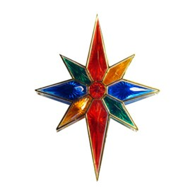 northlight sienna 11in multicolor prelit plastic star christmas tree topper with white