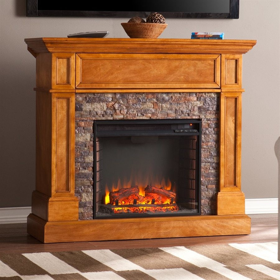 Boston Loft Furnishings 45.5-in W 5000-BTU Sienna MDF LED Electric Fireplace with Thermostat and Remote Control