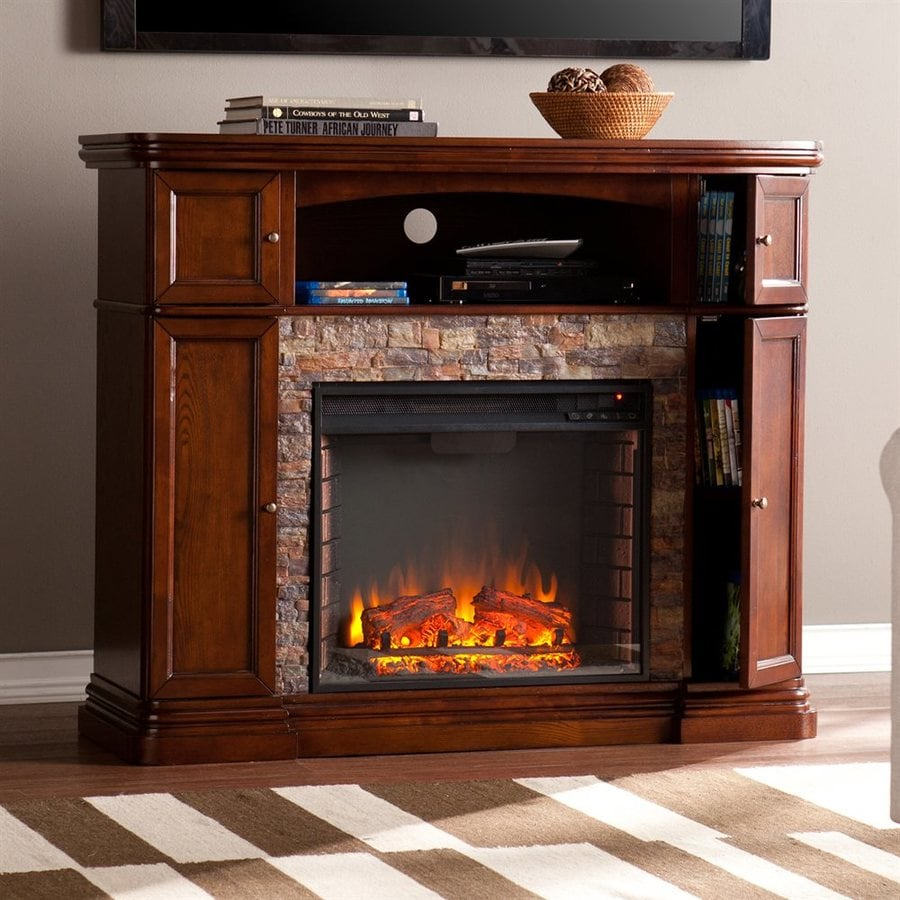 Boston Loft Furnishings 47.5-in W 5000-BTU Espresso MDF LED Electric Fireplace with Thermostat and Remote Control