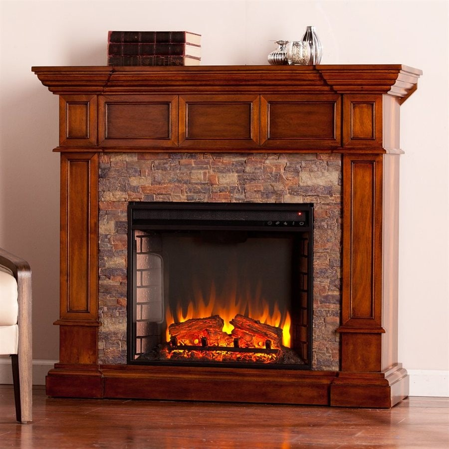Boston Loft Furnishings 45.75-in W 5000-BTU Buckeye Oak MDF LED Electric Fireplace with Thermostat and Remote Control