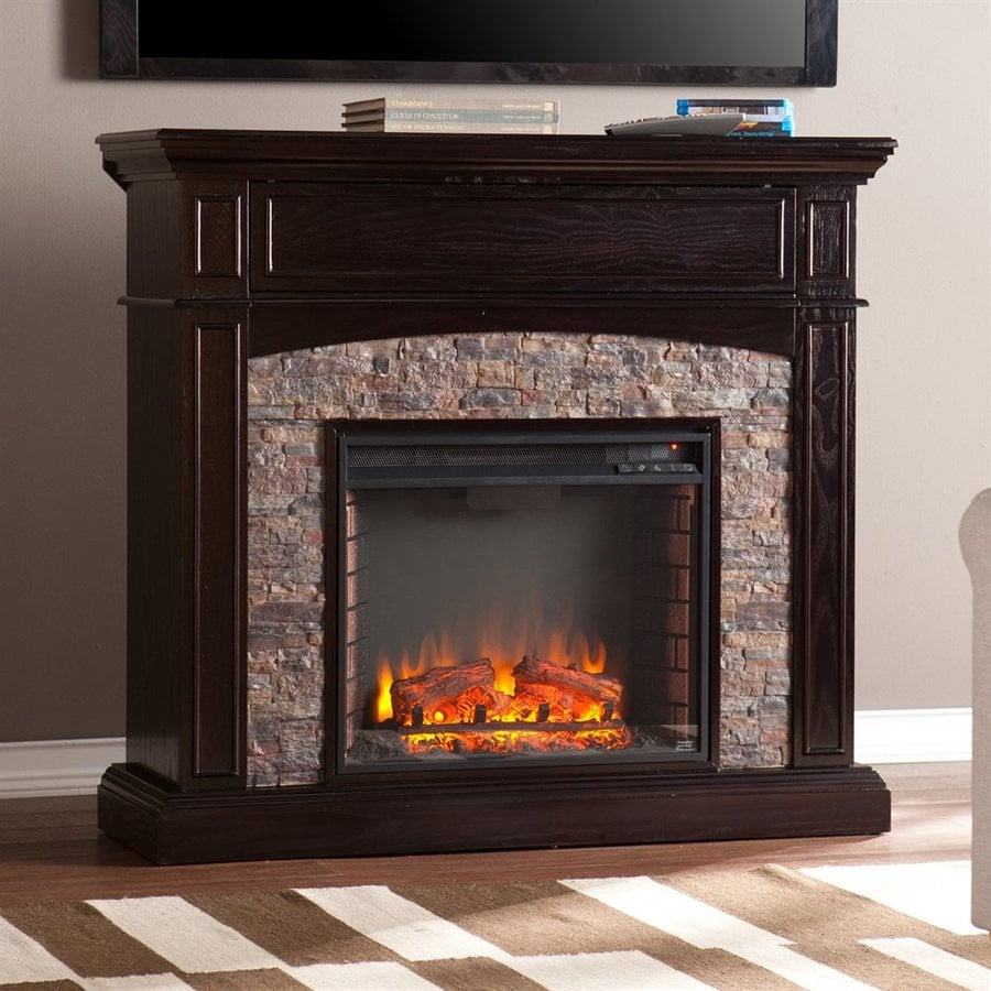 Boston Loft Furnishings 45.5-in W 5000-BTU Ebony MDF LED Electric Fireplace with Thermostat and Remote Control