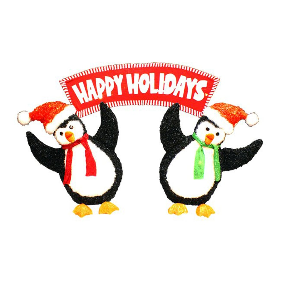 Northlight Penn Lighted Penguin Freestanding Sign Outdoor Christmas Decoration with White Incandescent Lights