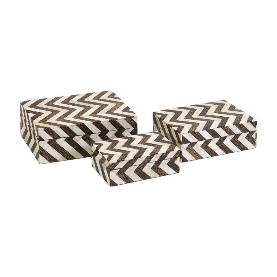Imax Worldwide Set of 3 Zig Zag Bone Inlay MDF Boxes