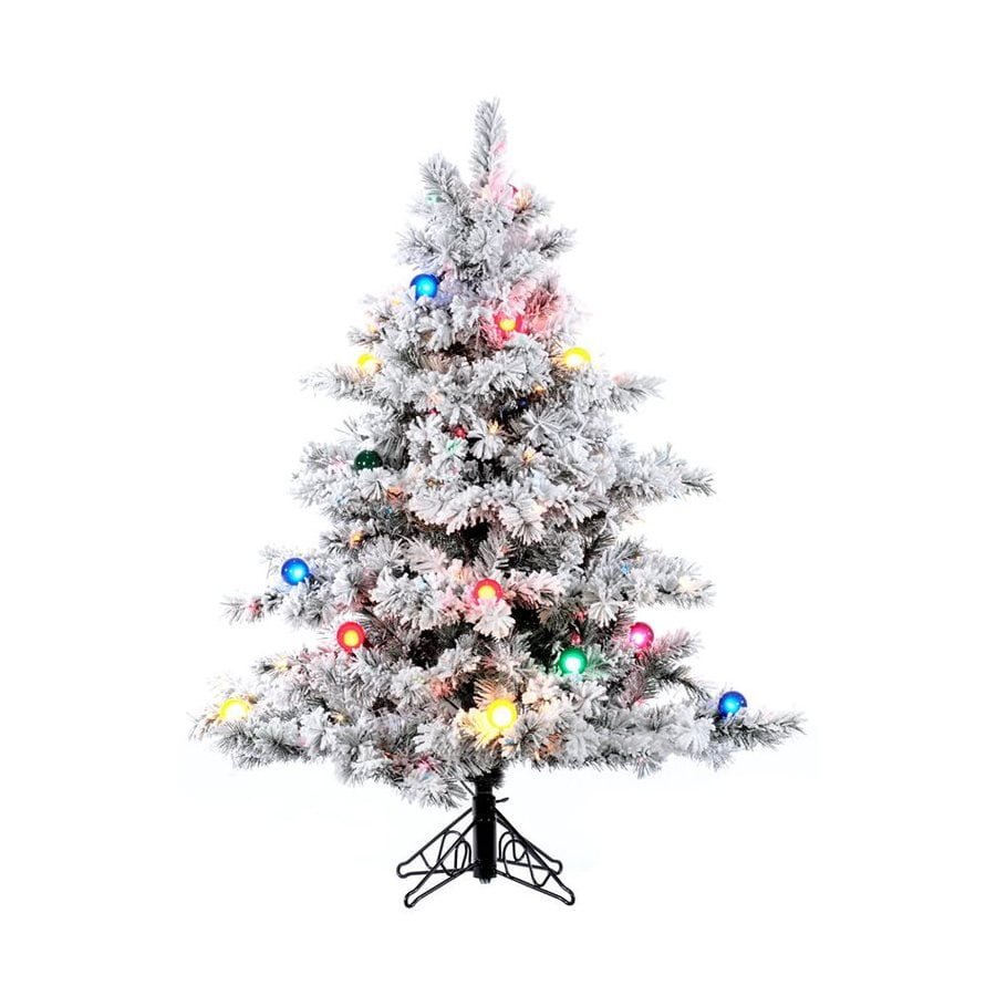 Vickerman 4.5-ft Pre-Lit Alaskan Pine Flocked Artificial Christmas Tree with Multicolor Incandescent Lights