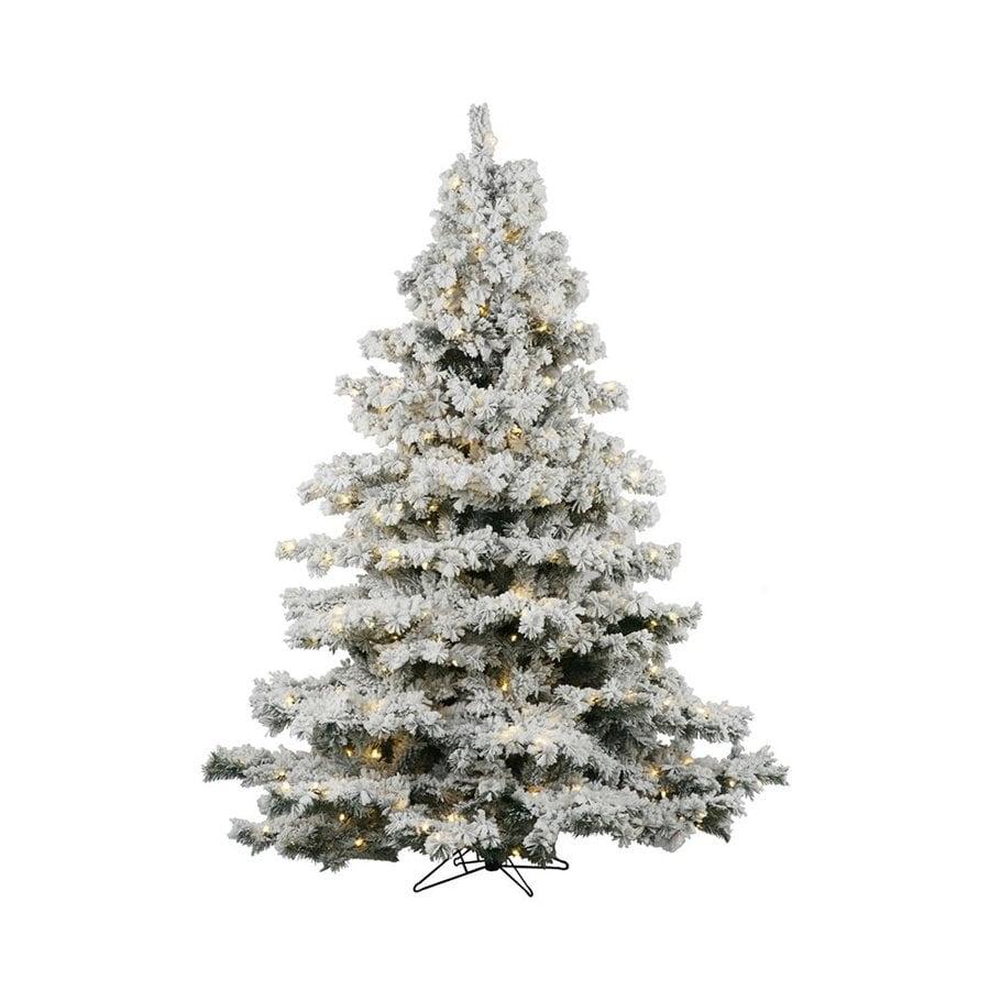 Vickerman 5.5-ft Pre-lit Alaskan Pine Flocked Artificial Christmas Tree with 450 Constant Clear White Incandescent Lights