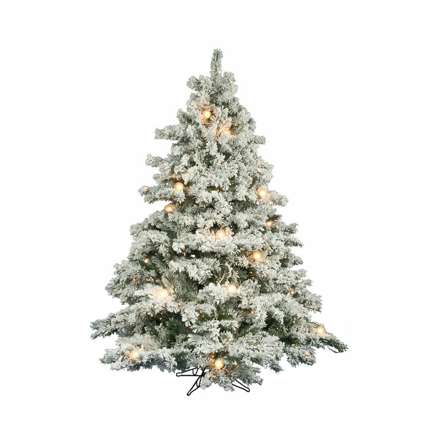 Vickerman 6.5-ft Pre-lit Alaskan Pine Flocked Artificial Christmas Tree with 680 Constant Clear White Incandescent Lights
