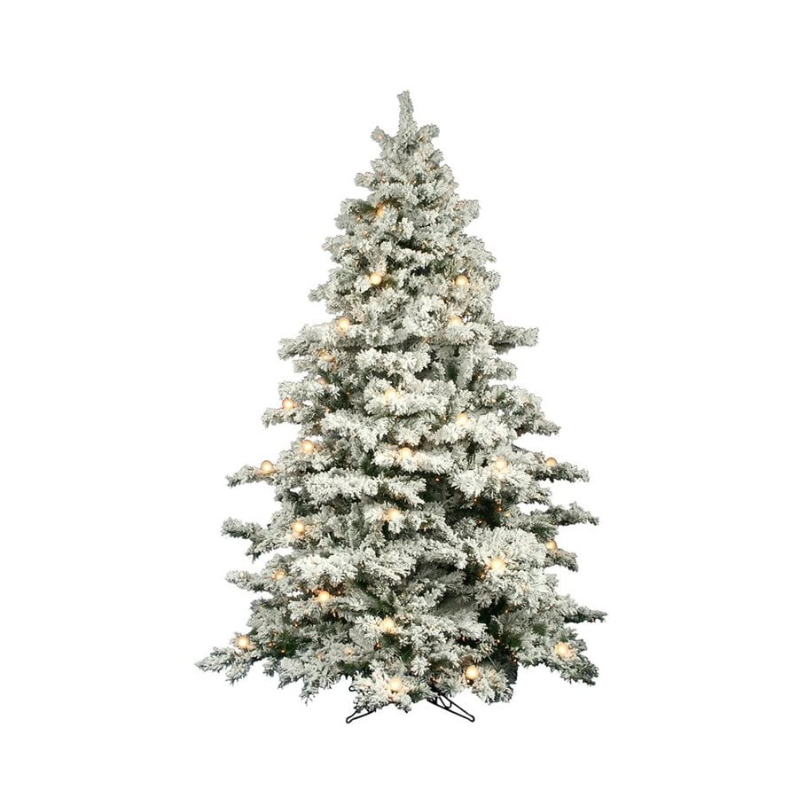 Vickerman 9-ft Pre-Lit Alaskan Pine Flocked Artificial Christmas Tree with White Clear Incandescent Lights