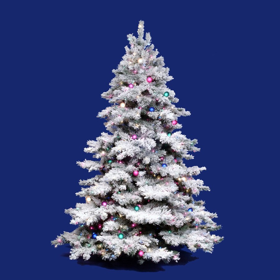 Vickerman 10-ft Pre-Lit Alaskan Pine Flocked Artificial Christmas Tree with Clear White Incandescent Lights