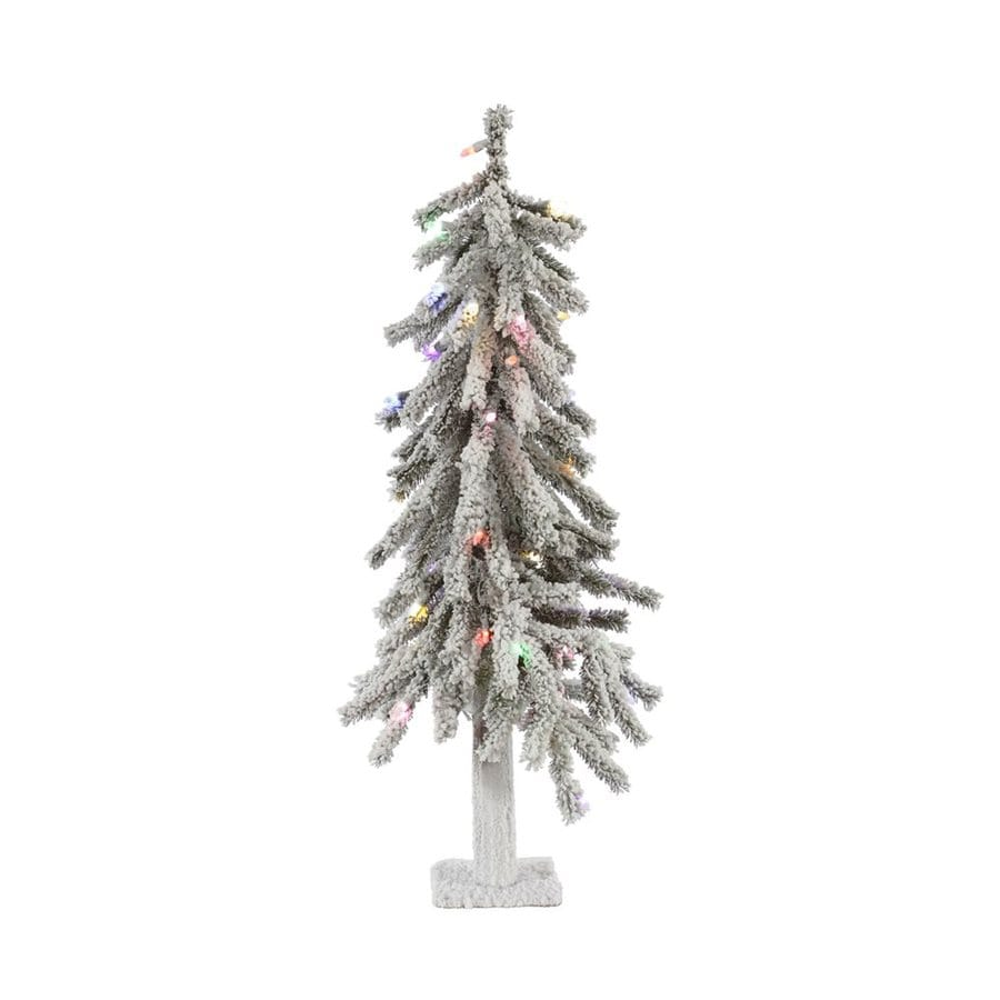 Vickerman 2-ft Pre-Lit Alpine Slim Flocked Artificial Christmas Tree with Multicolor LED Lights
