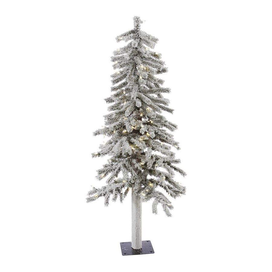 Shop Vickerman 4-ft Pre-lit Slim Flocked Artificial Christmas Tree ...
