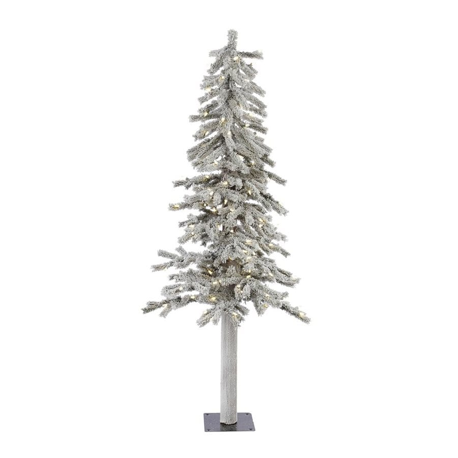 Vickerman 5-ft Pre-Lit Alpine Flocked Slim Artificial Christmas Tree with White LED Lights