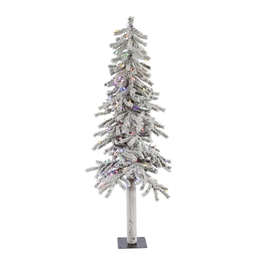 Shop Vickerman 5-ft Pre-lit Alpine Slim Flocked Artificial ...