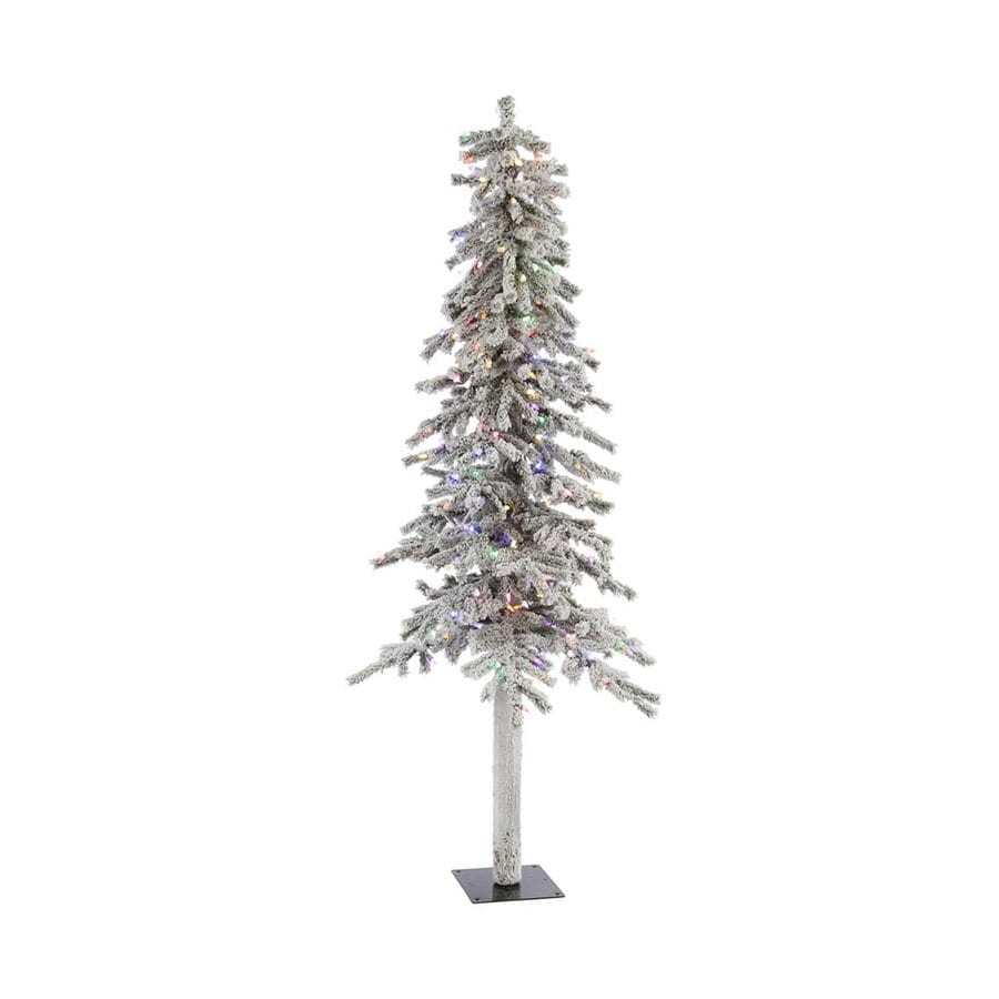 Slim white christmas tree with lights - Vickerman 6 Ft Pre Lit Alpine Slim Flocked Artificial Christmas Tree With Multicolor Led