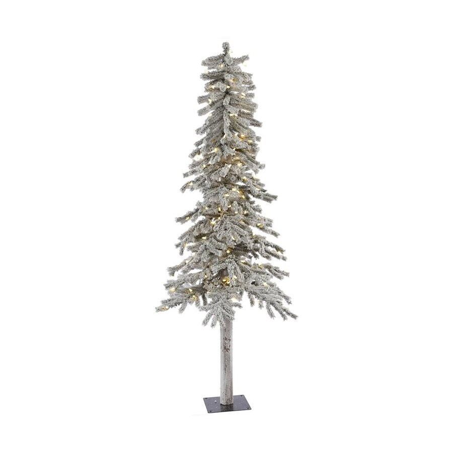 Shop Vickerman 7 Ft Pre Lit Alpine Slim Flocked Artificial  - 7 Ft Artificial Christmas Trees