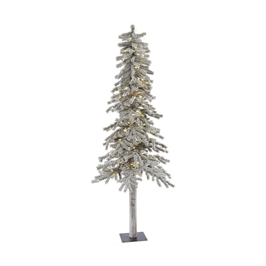 Vickerman 7-ft 706-Count Pre-lit Alpine Slim Flocked Artificial Christmas Tree with Constant 300 White Warm White LED Lights