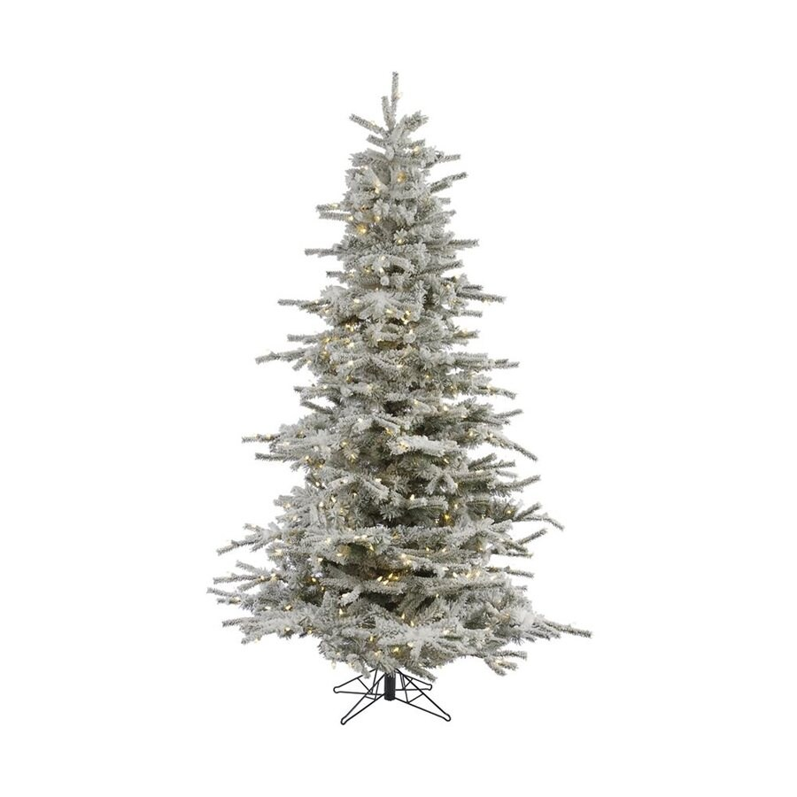 Vickerman 12-ft Pre-lit Flocked Artificial Christmas Tree with 1850 Constant Warm White LED Lights