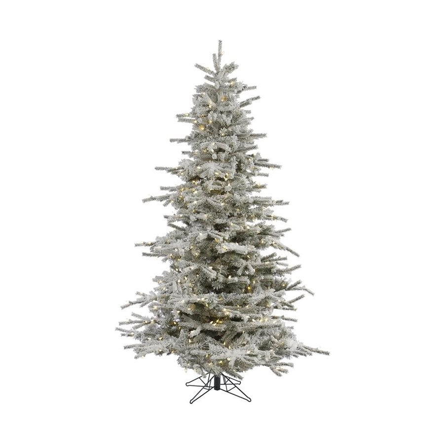 Vickerman 12-ft Pre-Lit Flocked Artificial Christmas Tree with Warm White LED Lights