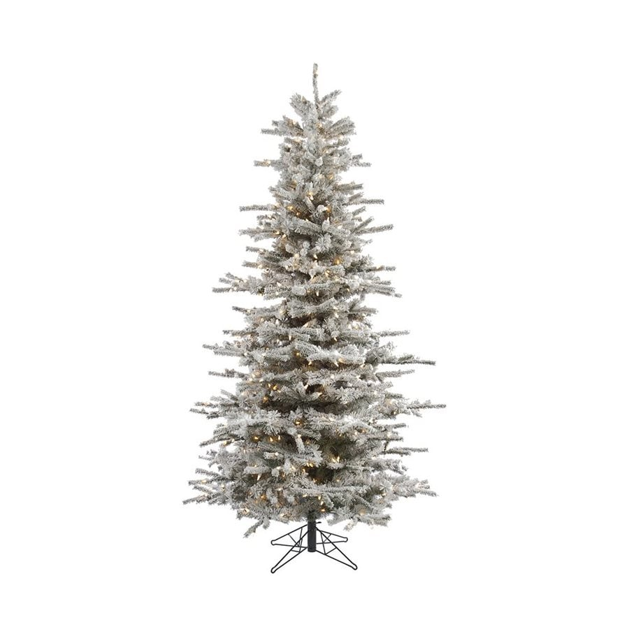 Shop Vickerman 7 5 Ft Pre Lit Slim Flocked Artificial Christmas  - Vickerman Pre Lit Christmas Trees