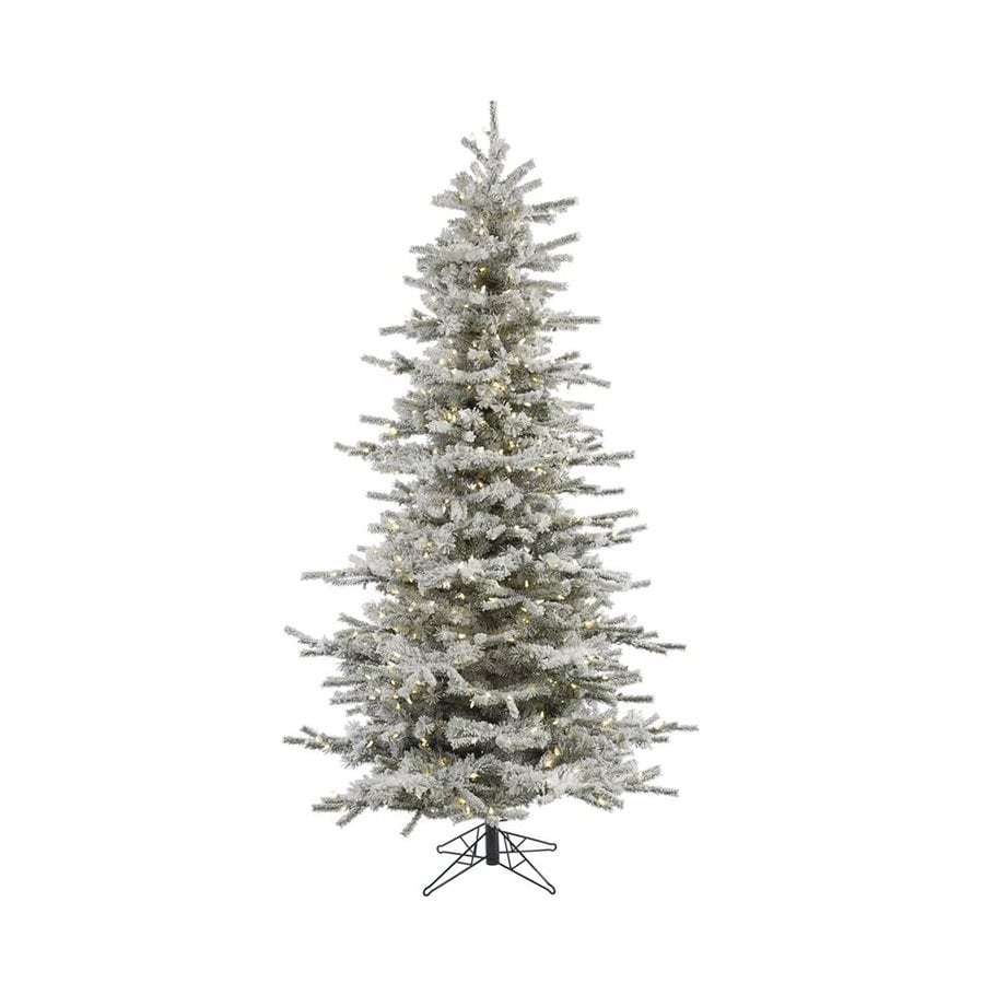 Vickerman 7.5-ft Pre-Lit Flocked Slim Artificial Christmas Tree with White LED Lights