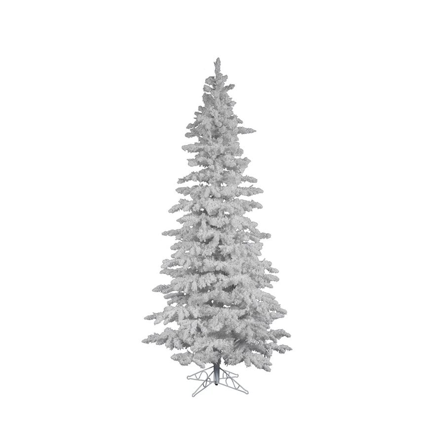 Shop Vickerman 6 5 Ft Slim Flocked Artificial Christmas Tree At  - Vickerman Pre Lit Christmas Trees