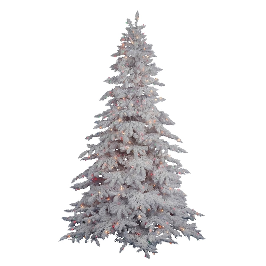 Vickerman 4-ft 6-in 498-Tip Pre-Lit White Spruce Flocked Artificial Christmas Tree with 250 Warm White LED Lights