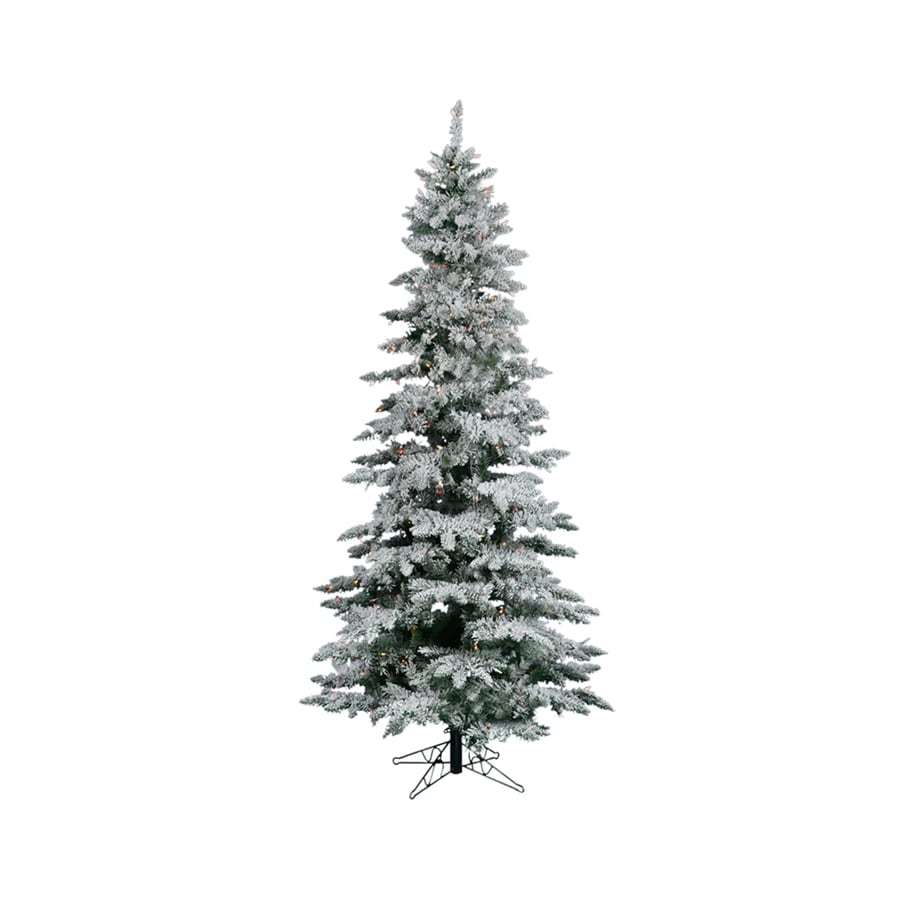 Vickerman 7-ft 6-in 1,019-Tip Pre-Lit Utica Fir Slim Flocked Artificial Christmas Tree with 450 Multicolor Incandescent Lights