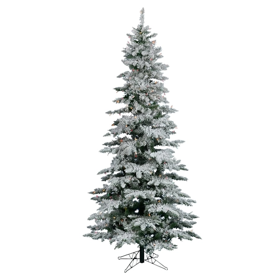Vickerman 10-ft 1,743-Tip Pre-Lit Utica Fir Slim Flocked Artificial Christmas Tree with 550 Multicolor LED Lights