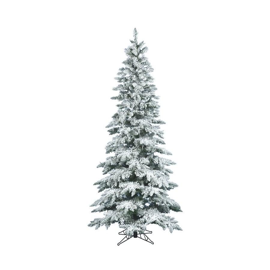 Vickerman 12-ft Utica Fir Slim Flocked Artificial Christmas Tree