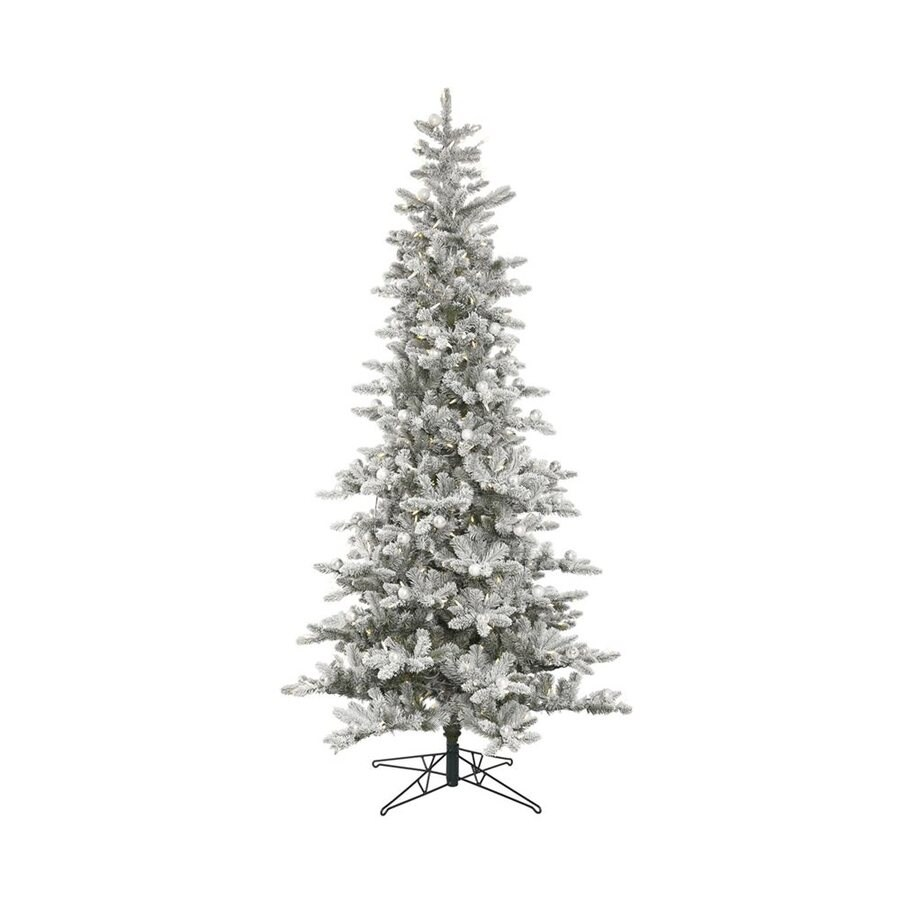 Vickerman 75 Ft Pre Lit Flocked Slim Artificial Christmas Tree With