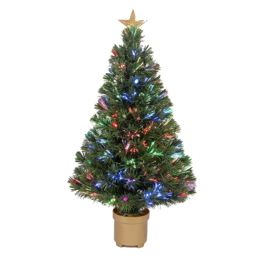 Merske Jolly Workshop 3-ft 125-Count Pre-lit Artificial Christmas Tree with Twinkling Single Plug Multicolor LED Lights